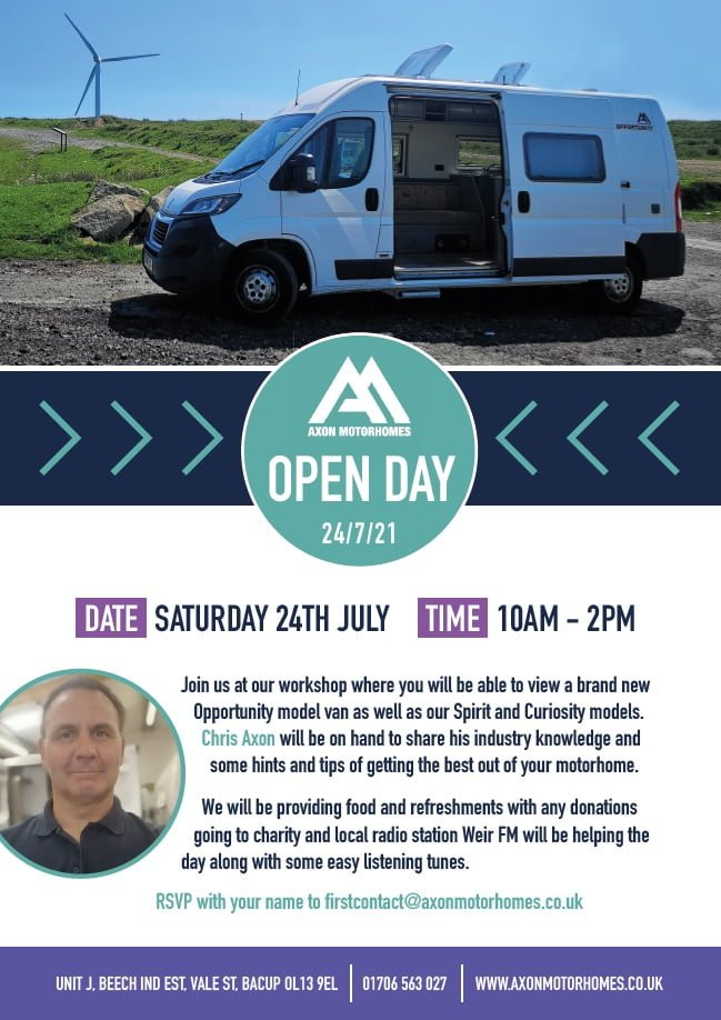Event invitation for Axon Motorhomes Open Day Event on 24th July 2021
